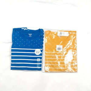 KIM ROGERS 3/4 SLEEVE STRIPED BLUE AND YELLOW SHIRT BUNDLE SIZE LARGE